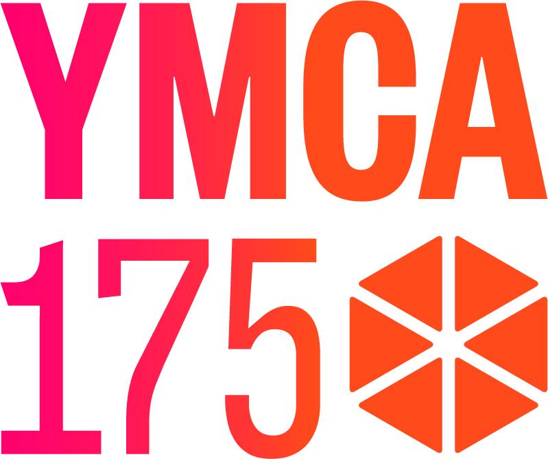 YMCA175 röd och orange text med logga